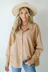 Taupe - Model wearing a Button-Up Blouse