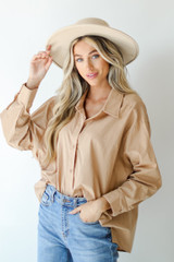 Taupe - Dress Up model wearing a Button-Up Blouse
