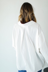Button-Up Blouse in White Back View