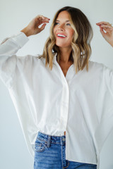 Button-Up Blouse in White Front View