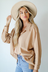 Button-Up Blouse in Taupe Side View