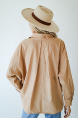 Button-Up Blouse in Taupe Back View