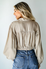 Tie-Front Blouse in Taupe Back View