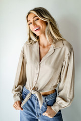 Taupe - Tie-Front Blouse