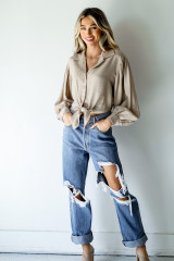 Tie-Front Blouse in Taupe