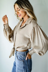 Tie-Front Blouse in Taupe Side View
