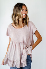 Taupe - Model wearing a Babydoll Tee