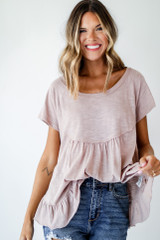 Taupe - Dress Up model wearing a Babydoll Tee