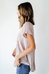 Babydoll Tee in Taupe Side View
