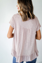 Babydoll Tee in Taupe Back View
