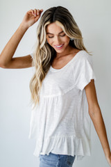 Babydoll Tee in White Side View