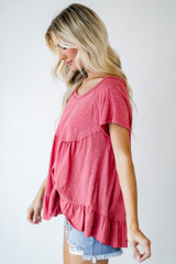 Coral - Babydoll Tee Front View on model