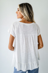 Babydoll Tee in White Back View