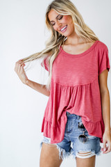 Coral - Babydoll Tee Front View