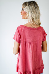 Babydoll Tee in Coral Back View