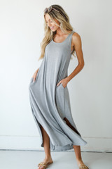 Criss-Cross Jersey Maxi Dress Front View on model