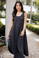 Criss-Cross Jersey Maxi Dress in Black Front View