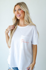 White - Model wearing the Peachy Pocket Tee