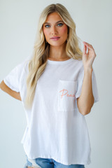 White - Dress Up model wearing the Peachy Pocket Tee
