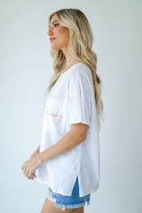 Peachy Pocket Tee in White Side View