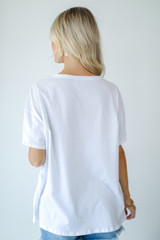 Peachy Pocket Tee in White Back View