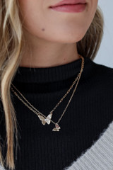 Gold - Layered Butterfly Necklace