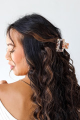 Model wearing a Claw Hair Clip in Blush