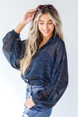 Navy - Spotted Blouse from Dress Up