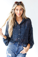 Model wearing a Spotted Blouse