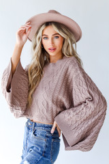 Mocha - Cable Knit Sweater