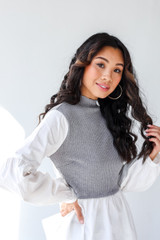 Heather Grey - Sweater Vest Blouse from Dress Up
