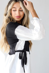 Black - Sweater Vest Blouse from Dress Up