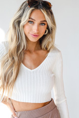 White - Model wearing a Ribbed Knit Crop Top