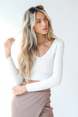 White - Dress Up model wearing a Ribbed Knit Crop Top