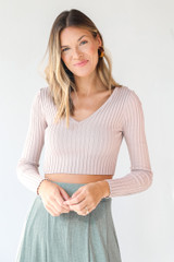 Mauve - Ribbed Knit Crop Top Front View