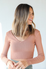 Peach - Model wearing a Ribbed Knit Crop Top with olive pants