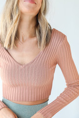Peach - Dress Up model wearing a Ribbed Knit Crop Top with olive pants