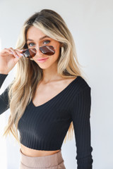 Ribbed Knit Crop Top in Black Side View