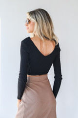 Ribbed Knit Crop Top in Black Back View