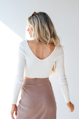Ribbed Knit Crop Top in White Back View
