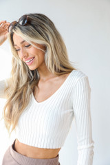 Ribbed Knit Crop Top in White Side View