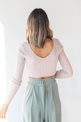 Ribbed Knit Crop Top in Mauve Back View
