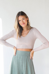 Ribbed Knit Crop Top in Mauve Front View