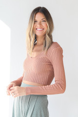 Ribbed Knit Crop Top in Peach Side View