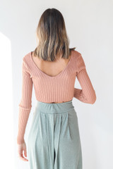 Ribbed Knit Crop Top in Peach Back View