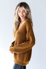 Sweater in Camel Side View