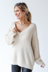 Sweater in Ivory Front View