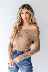 Tan - Model wearing an Off-The-Shoulder Knit Top