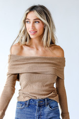 Tan - Dress Up model wearing an Off-The-Shoulder Knit Top