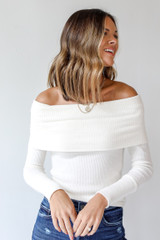 White - Off-The-Shoulder Knit Top Front View